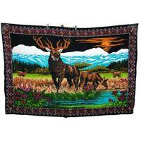 VTG 57 X 39 Buck Deer Nature Scenic Mountains Landscape Felt Velvet Wall Hanging