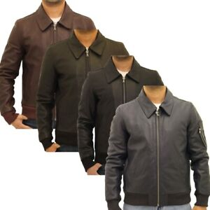 Mens Aniline M2 Style Style Cowhide Leather Classic Bomber Fitted Jacket