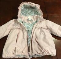 H&M Baby girl zip up hooded jacket Pink Size 6-9 Months Removable Hood