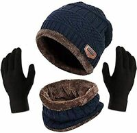 New Scarf Beanie Winter Hat Warm Women Set Knitted Ski Cap Knit Gloves And Neck