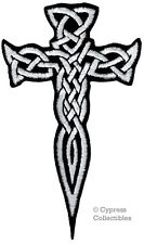 CELTIC DAGGER CROSS iron-on PATCH embroidered IRISH CHRISTIAN RELIGIOUS WHITE