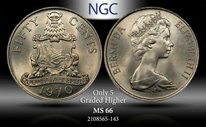 1970 BERMUDA 50 CENTS NGC MS 66 ONLY 5 GRADED HIGHER #E
