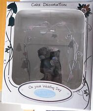 ME TO YOU BRIDE & GROOM CUDDLING TEDS UNDER SILVER ARCH WEDDING CAKE TOPPER RARE