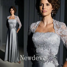 Silver Gray Lace Mother of the Bride Dress Suits Plus Size Evening Gown Custom