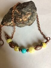 Light Green Serpentine, Yellow Turqouise, Turqouise Copper Antique Necklace