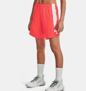 *NWT* UNDER ARMOUR Women's UA Beta Orange/ White Colorblock Basketball Shorts XS