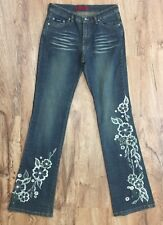 SOLID Beaded And Embroidered Jeans Boot Cut Stretch Embellished Denim Juniors 9