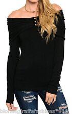 Black Wide Boatneck Collar Long Sleeve Lightweight Sweater Knit Top S M