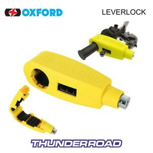 OXFORD LEVERLOCK BRAKE LEVER AND THROTTLE LOCK MOTORCYCLE SECURITY YELLOW LK301