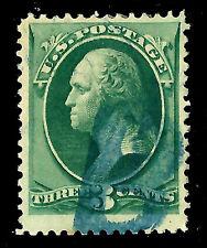 US 1800s Bangor, Me. PO's Fancy Cancel = Blue Hand-carved 'B'  ~ Cole #Lb-9