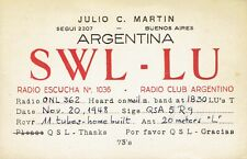Old QSL from Julio C. Martin SWL-LU, Buenos Aires, Argentina 20/11/1948