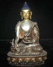 "8.2"" Old Tibetan Nepal Buddhism Silver Wire Gilt Menla Medicine Buddha Statue"