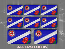 8 x 3D Stickers Resin Domed Flag Windsor - Adhesive Decal Vinyl