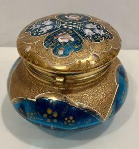 Bohemian Antique Enameled  Gold & Blue Glass Flower Trinket Box Moser