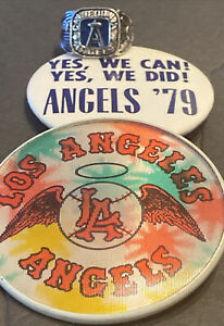 """1960's-80's ALL L.A & CALIF. ANGELS LOT W/RING~""""ANGELS'79 WE DID"""" & LENTICULAR +"""