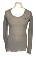 Abercrombie & Fitch Women's Casual T Shirt Grey Long Sleeve Large Stretch