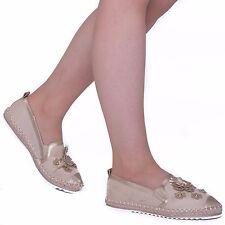 Para mujeres Damas Flor Bailarinas Planas Mocasín's Slip On Alpargatas Sandalias Zapatos
