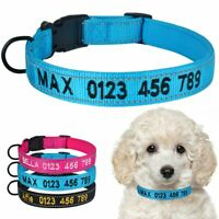Personalized Dog Collar Custom Embroidered ID Reflective Name Soft Padded Nylon