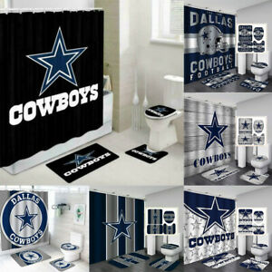 Dallas Cowboys 4PCS Bathroom Sets Shower Curtain Non-slip Mat Toilet Lid Cover