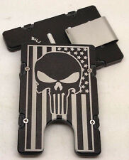 American Flag, with Punisher, Billet Aluminum Wallet, RFID protection, Blk