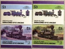 ST VINCENT GRENADINES UNION ISLAND 1986 154-55 59 VARITY Locomotives Railway MNH