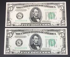 2 CONSECUTIVE SET 1934 FIVE $5 DOLLAR FEDERAL RESERVE NOTES MULES UNCIRCULATED