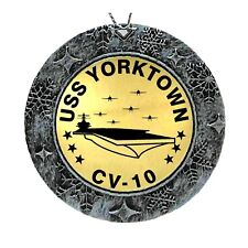 USS Yorktown CV-10 Acrylic & Brass Laser Engraved Christmas Ornament 2 Sided