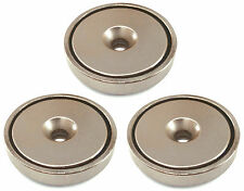 3pk Round Neodymium Magnets With Countersunk Hole 70 Lbs Pulling Force 165 D