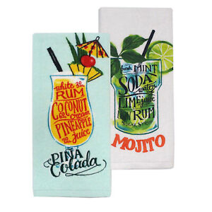 NEW Summer Cocktails Pina Colada Mojito Rum Drinks Recipe Kitchen Towel Set Of 2