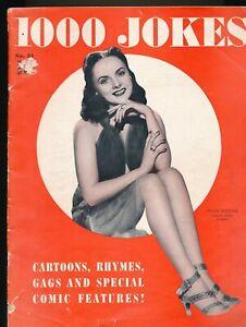 1000 JOKES No. 21 1941 Spicy Cartoon Gag Magazine PEGGY DIGGINS Leg Art Cover vv