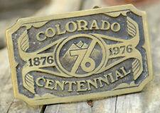 Colorado Centennial Brass Belt Buckle-Mountains-Denver CO USA-1976