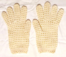 Vintage Mid-Century Women's Size Small Cream White Crochet Lace Dress Gloves