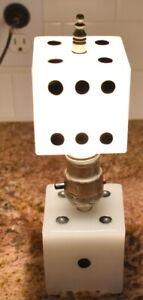 Vintage Cal Neva Lodge Casino Lake Tahoe Milk Glass Dice Lamp dated 1933, Nice!