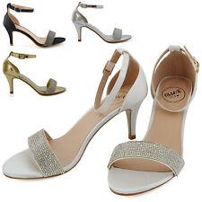 Womens Low Heel Sandals Stiletto Peep toe Ladies Diamante Ankle Strap Shoes