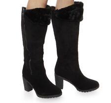 New Women's Faux Fur Cuffed High Heel Black Boots Size 7