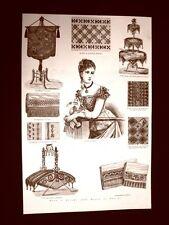 Moda e costume in Italia nel 1877 Corazza Parafuoco Asciugamano Coperta Ricamo