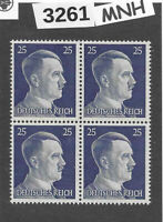 #3261  MNH stamp block of 4 / PF25 Sc518 / WWII Germany Third Reich Adolf Hitler