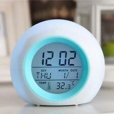 Wake Up Light Alarm Clock Backlight Time Calendar Thermometer Bedside Night Lamp