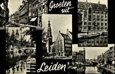 Leiden Holland AK ~1950/60 Stadthuisplein Garenmarkt Rijksmuseum Vismarkt u.a