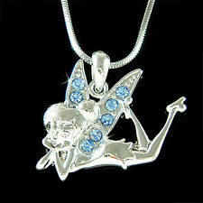 Blue w Swarovski Crystal Fairy ~Tinkerbell tinker Jewelry Pixie Charm Necklace