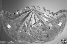 VINTAGE AB ? CUT GLASS OR CRYSTAL BOWL/VASE PINEAPPLE STARBURST SCALLOPED EDGES