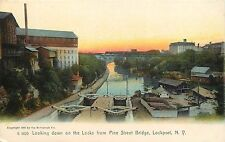 Early Rotograph PC; Looking Down on Locks from Pine Street Bridge, Lockport, NY