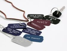MILITARY CUSTOM ENGRAVED DOG TAGS BLACK WITH CHAIN Great as a Key Chain too.