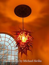 Hand Blown Glass Chandelier made from borosilicate