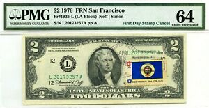 $2 DOLLARS 1976 FIRST DAY STAMP CANCEL STATE FLAG FROM MINNESOTA VALUE $3000
