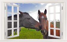 """3D Wall Murals Art Decals Decorator-Loving Horses(35"""" X 22"""")"""