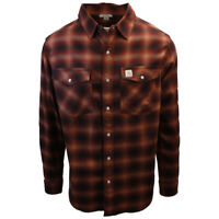 Carhartt Men's Relaxed Fit Orange Red Plaid L/S Woven Shirt (373)