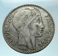 1938 FRANCE Authentic Large Silver 20 Francs Genuine French MOTTO Coin i78811