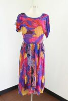 Vtg 80s Judith Ann Creations Multi Color Silk Floral Sequin Layered Dress Size S
