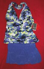 MagicSuit by Miraclesuit Yvonne Halter Skirted Tankini Set sz 12 Long Purple Prt